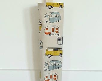 Grocery Bag Holder Made with Vintage Campers Home Decor Fabric