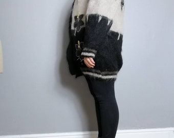 80s mohair cardigan / oversized fluffy cardigan / vintage lined cardigan / brown black applique wool Cardigan / large winter fluffy jumper U