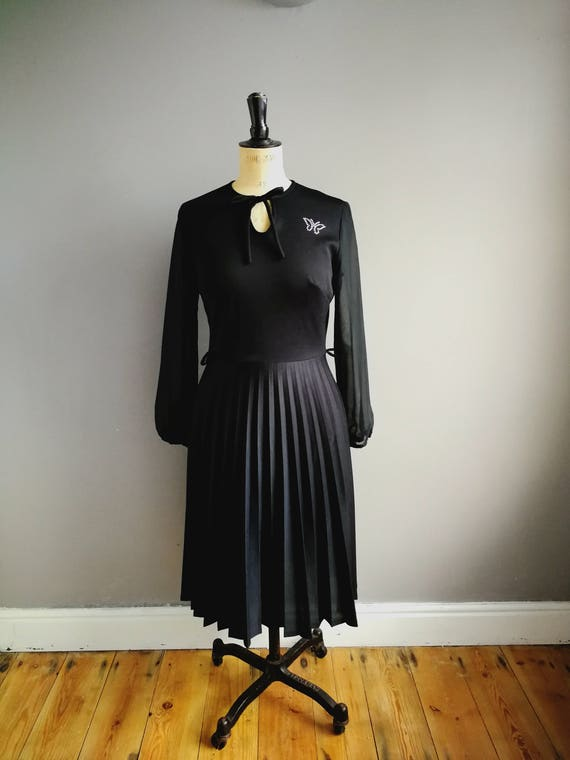 Black vintage dress / black winter dress /boho back midi dress / pleated skirt dress with semi sheer sleeves / diamonte butterfly