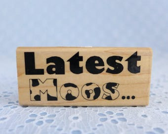 Latest Moos Rubber Stamp, Inkadinkado, Wood Mounted, Latest News Stamp, Holstein Cow Stamp, DIY Crafts, Greeting Cards, Paper Stamping