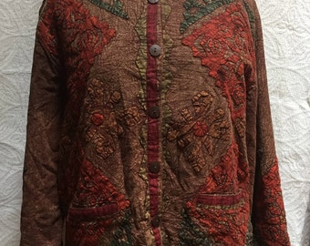 SACRED THREADS Women's Brown Orange Red & Green APPLIQUÉD Coat Size M/L