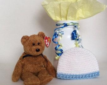 NICU Hat Boy, Preemie Hospital Hat, Tiny Baby, Soft Preemie Hat, Cute Baby Hats, Crochet Reborn Hat, Bitty Baby Clothes, Premature Boy Hat