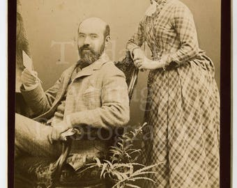 Cabinet Card Photo - Portrait Victorian Couple Bearded Man, Pretty Woman, Tartan Check Style Long Bustle Dress  - Carlisle England - Antique