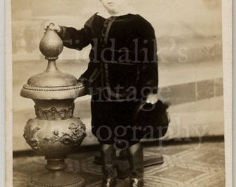 CDV Carte de Visite Photo Young Standing Victorian Boy Portrait by A Constant of New Orleans USA