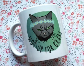 Feminist Mug: Not Up For Grabs, feminist cat, cat lady, smash patriarchy, FREE US SHIPPING