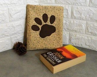 Dog fabric, Dog paw print, dog lover gift, paw print fabric, book cover, Book jacket, book covers, Book sleeve, bookish gift, kindle sleeve,