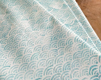 Block Print Fabric, Japanese Waves Pattern in Turquoise Blue | Hand printed soft cotton fabric, Japanese block printed pattern, ocean waves.