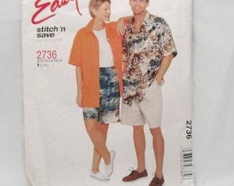 Stitch n Save 2736 McCalls 2736 Misses Mens Teen Boys Shirt and Shorts UNCUT