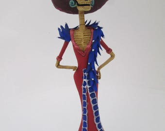 REVOLUTIONARY CATRINA soldier with gun mexican folk art day of the dead SMALL