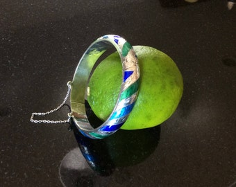 Enamel and sterling bracelet Siam Blue Green Aqua