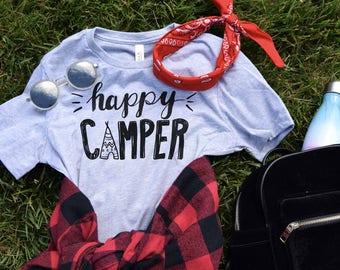 Happy Camper tshirt, Camping Shirt, Summer Outdoors Shirt, Travel Adventure Nature, Happy Camper Tee Shirt, Road Trip Shirt, Vacation Shirt