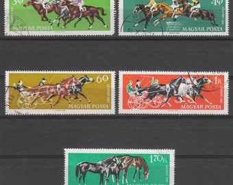 Horse Racing Postage Stamps from Hungary - 1961 - Collectible, Collage, Mixed Media, Visual Journalling