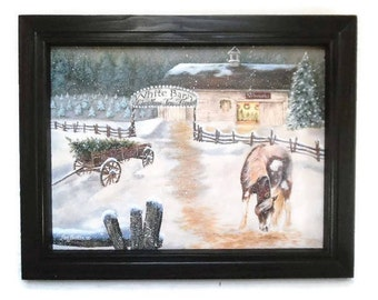 White Barn Tree Farm, Horse and Christmas Trees, Pam Britton, Art Print, Country Home Decor, Primitive Decor, Handmade 19x15 Wood Frame, USA