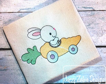 Bunny driving carrot car sketch embroidery design - bunny embroidery design - rabbit embroidery design - carrot embroidery design - Easter