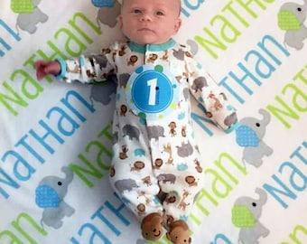 Elephant Personalized Baby Blanket - Elephant Receiving Blanket - Boy Elephant Name Blanket - Infant Swaddling Blanket - Elephant Blanket