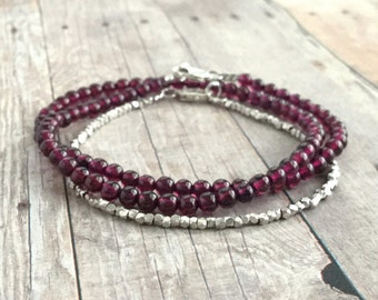 Genuine Garnet Bracelet, Sterling Silver Small Bead Bracelet, Garnet Jewelry, Hand Beaded Double Wrap Bracelet, January Birthstone Jewelry
