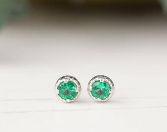14k white gold emerald studs earrings, 3mm emerald earrings, simple studs, minimalist earrings, may birthday gift, dal-e101-3mm-eme, RTS