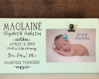 Handmade wood signs and home decor by pinkstonmade on etsy birth stat picture frame birth stat sign personalized baby gift birth announcement sign negle Choice Image