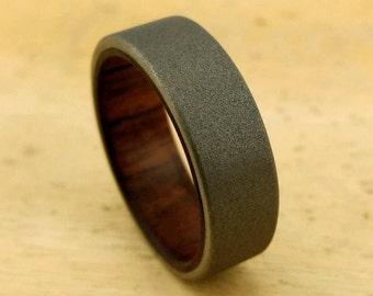 Sandblasted M1 Garand, WW2 Wood, Black Walnut Ring, Historical Jewelry, Gun Stock Ring, Army Ring, History in Action, Etsy Wood Ring, GJG