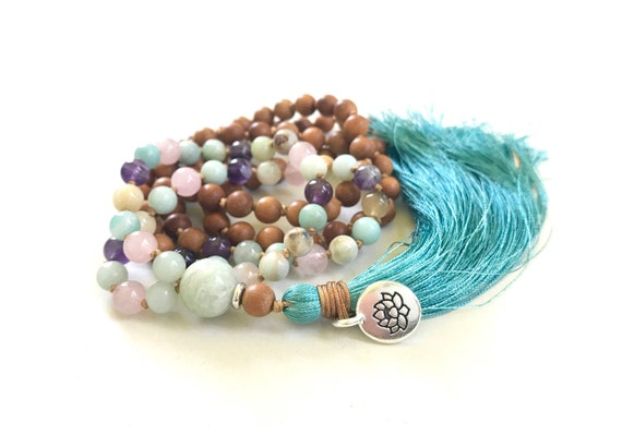 Sandalwood Amethyst Rose Quartz and Amazonite Mala Beads, Mixed Wood and Gemstone Mala, 108 Bead Prayer Beads, Healing Knotted Mala Beads