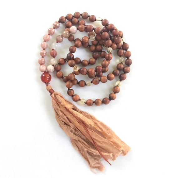 Sunstone Moonstone Mala Beads, Mala For Happiness, Sandalwood, Carnelian Citrine Mala, Mala Beads 108, Protect From Bad Vibrations
