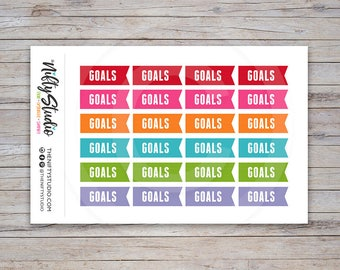 Goals Stickers | Flag Stickers | Planner Stickers | The Nifty Studio [142]