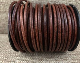1 Yard 3mm Round Leather Cord - Natural Distressed Brown - Genuine Indian Leather Cord - LCR3-6012