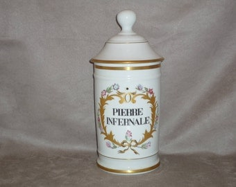 Large French Apothecary Bottle. Pharmacy jar Porcelain of Limoges France. very high quality Pierre infernale = Infernal Stone