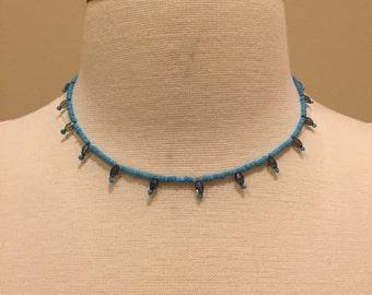 Blue and Purple Beaded Crown Choker