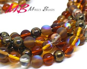 50 8 mm Brown Mix Druk Beads, Brown and Beige Tone Mix Czech Round Druk Beads,