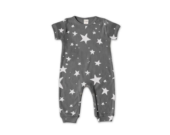 Newborn Baby Boy Coming Home Outfit Summer, Baby Boy Stars Gray Romper, Baby Girl Star Romper Minimalist Stars Romper Tesa Babe RP860SR00
