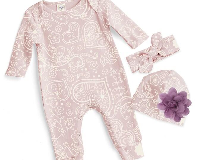 SALE! Baby Girl Valentines Romper Pink, Baby Girl Valentine Bodysuit, Infant Girl Valentines Onesie, Newborn Valentine Baby Romper Tesababe