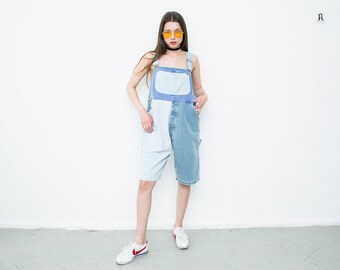 vintage patchwork denim dungaree overall shorts. denim jumpsuit. jeans suspender playsuit. women denim oversize romper. size L (32). 1990s.