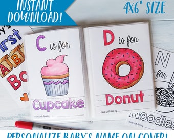 abc book custom coloring books baby shower activity diy baby shower nursery - Personalized Coloring Books
