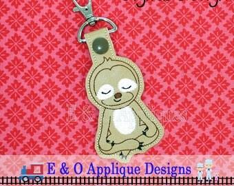 Sloth Snap Tab Embroidery Design, Meditating Sloth, In The Hoop Embroidery, Sloth Embroidery, Meditating, Snap Tab, Key Ring, Key Fob
