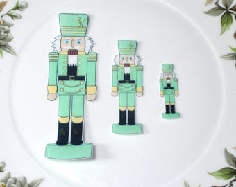 Edible Nutcracker Soldiers GREEN Figures Wafer Paper Wonderland Wedding Cake Decoration Holidays Xmas Nut Crackers Cupcake Cookie Topper