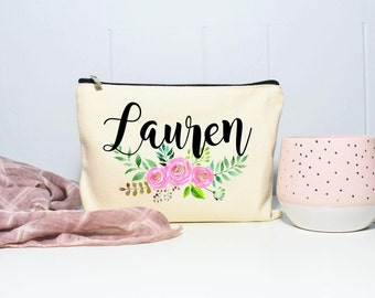 Girlfriend Gift, Gift for Girlfriend, Makeup Bag, Personalized Bag, Floral Monogram Bag, Bridesmaid Gifts, Makeup Case, Cosmetic Bag, Purse