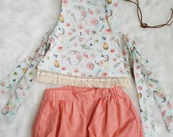 Girls Boho Outfit- Girls Bubble Shorts- Girls Pinafore Top- Girls reversible Top- Toddler Girls Outfit- Baby Girls Boho Outfit- sizes 2T-10