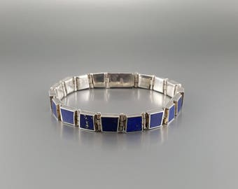 Bracelet Lapis Lazuli with Sterling silver inlay work - gift idea - square of AAA Grade Lapis - modern minimal design - natural design