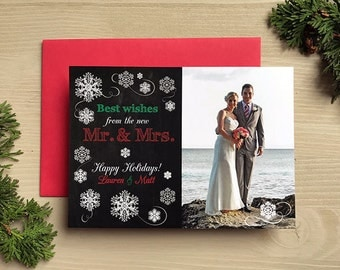 Best Wishes from the new Mr. & Mrs. Photo Happy Holidays • Christmas Card • Christmas Save the Date • Christmas Wedding Save the Dates