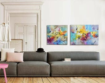 Modern Art Abstract Painting, Diptych, Original Painting Canvas Art,  Abstract Painting Canvas Art Part 72