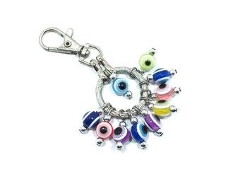 Evil Eye Keychain Circular, Evil Eye, Evil Eye Key Chain, Hamsa Keychain,  Evil Eye Hamsa (Buy 1 Get 1 FREE & FREE SHIPPING!!!)