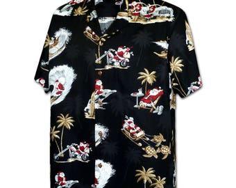Tropical Christmas Santa Black Pacific Legend Hawaiian Aloha Shirt 410-3922