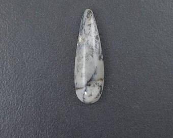 Dendritic Agate, 39x12mm, large cab, long cabochon, large teardrop stone, large pendant stone, dendrites, talon shaped, agate cab, dendritic