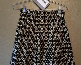 Black and Cream Cotton Blend Mini Skirt, Repetitive Flower Pattern