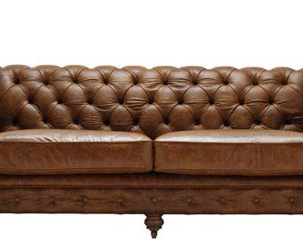 Vintage Chestnut Leather Chesterfield 3 Seater Sofa. Antique Leather.  British Handmade. Top Quality
