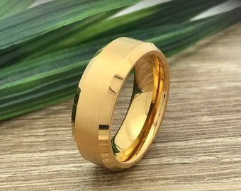 8mm Gold Plated Tungsten Ring, Engraved Date Ring, Couples Names Ring, Roman Numeral Ring, Coordinates Ring, Couple Promise Ring