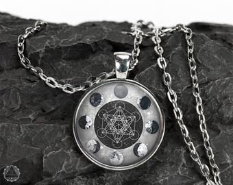 Moon Phases & Metatron's Cube Pendant Necklace - Moon Necklace Watercolor Moon Sacred Geometry Moon Jewelry Metatron's Cube Necklace Grunge