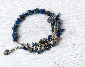 Lapis lazuli bracelet, Blue lapis bracelet, Lapis lazuli jewelry, Blue stone bracelet, Navy blue bracelet, Dark blue bracelet, Lapis jewelry