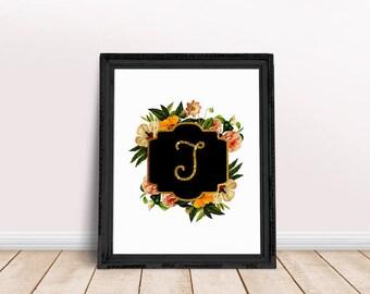 Baby Initial Decor J | Floral Alphabet, Name Letter Poster, Letter Floral Wreath, Floral Wreath Letter, Name Letter Poster